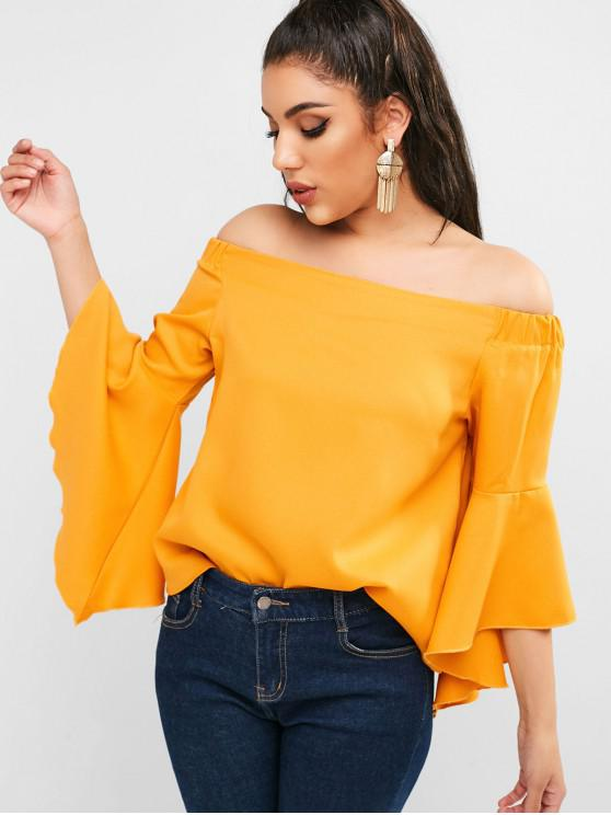 fancy Off Shoulder Flare Sleeve Blouse - BEE YELLOW M