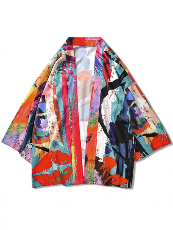 Color de la pintura de impresión casual kimono cardigan - Multicolor 2XL