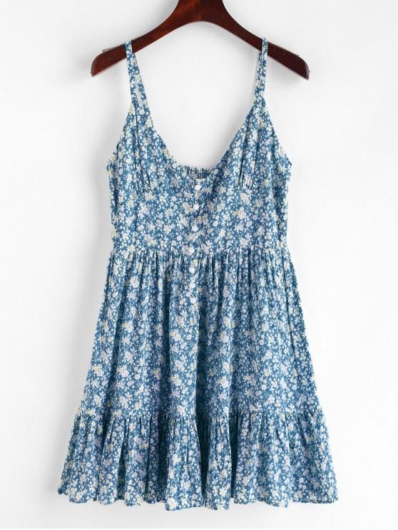 lady ZAFUL Ruffles Half Buttoned Floral Dress - BABY BLUE M
