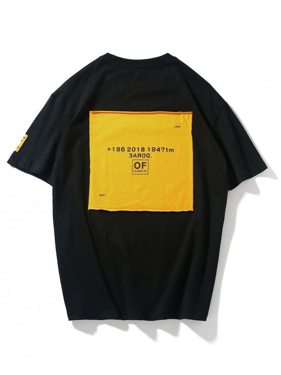 Camiseta de manga corta con estampado de remiendos de letras - Negro 2XL