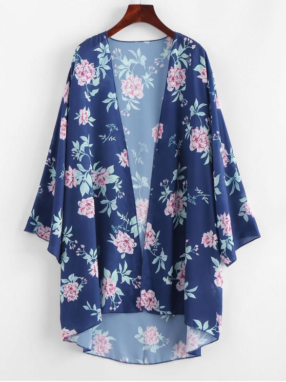 Pflanzendruck- Kimono - Lapisblau L