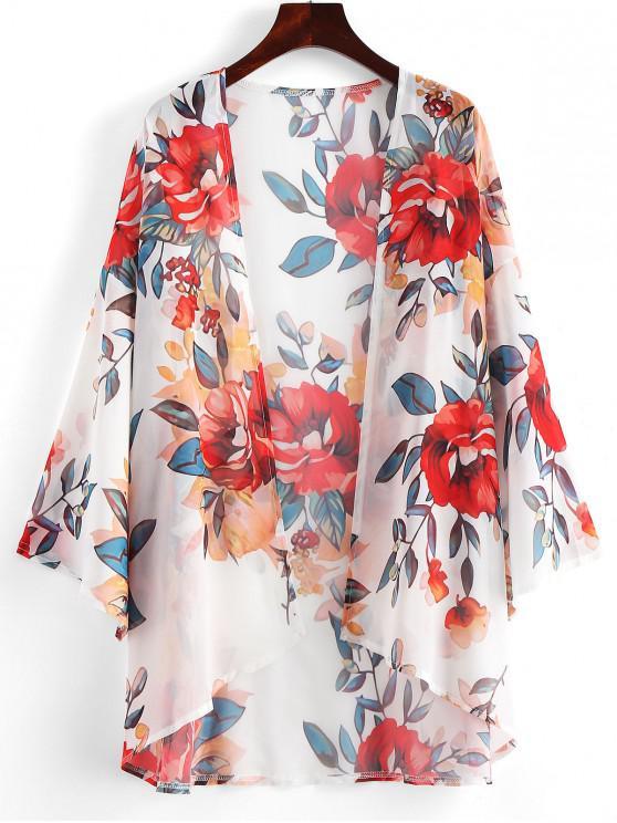 Kimono floreale puro - Bianca S