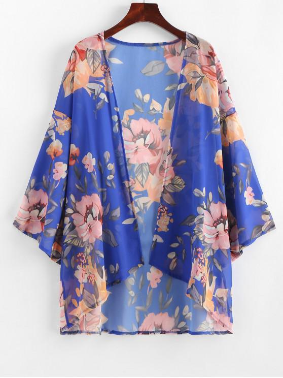 Pfkanzendruck- Kimono -Vertuschung - Blaubeere L