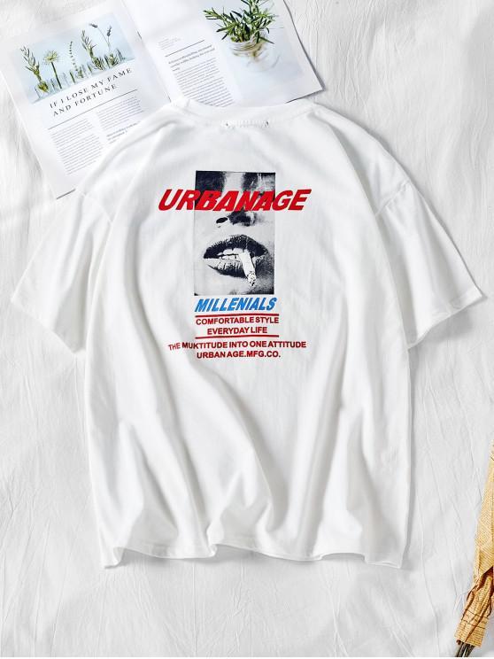 lady Letters Smoking Print Short Sleeves T-shirt - WHITE L