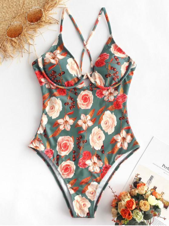 trendy ZAFUL Floral Criss Cross High Leg Swimsuit - MULTI-A M