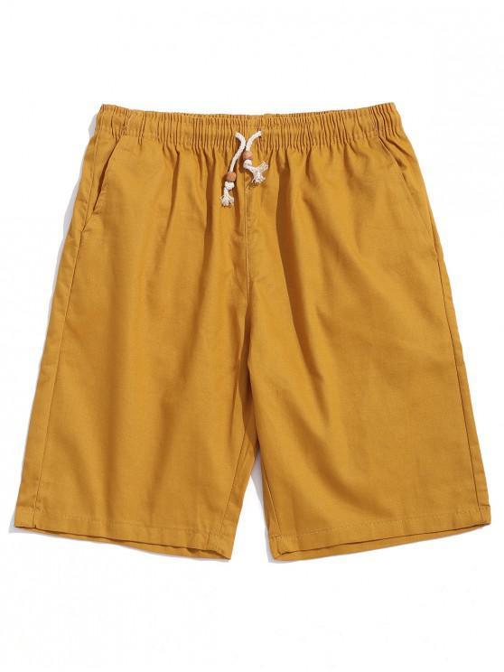 Solid Pantaloni scurți casual Culoare cordon - Albastru de albine S