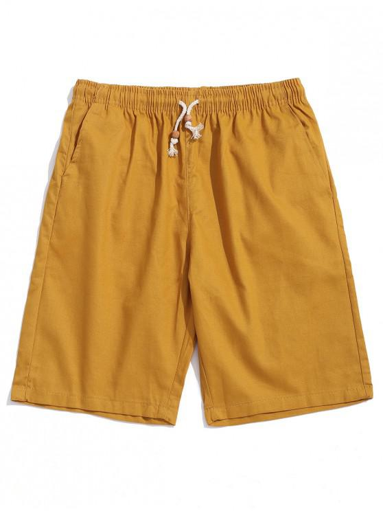 buy Solid Color Drawstring Casual Shorts - BEE YELLOW M
