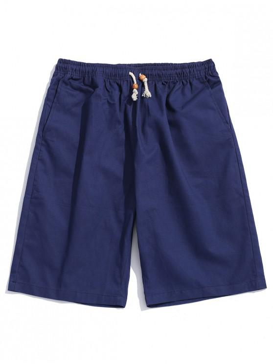women's Solid Color Drawstring Casual Shorts - CADETBLUE M