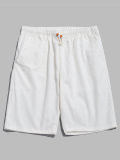 Solid Color Drawstring Casual Shorts - White M