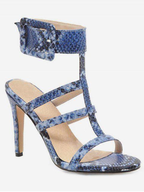 fancy Snake Pattern T Strap Heeled Sandals - BLUE EU 38 Mobile