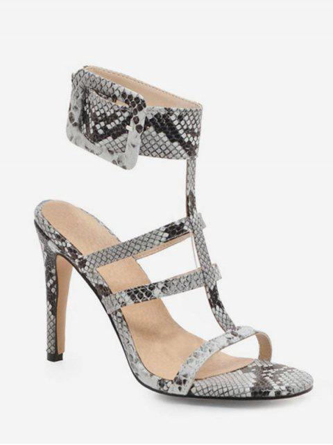 buy Snake Pattern T Strap Heeled Sandals - WHITE EU 38 Mobile