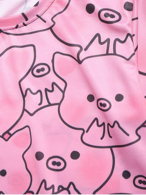 Camiseta casual con estampado gráfico de Piggy Allover - Rosado M Mobile