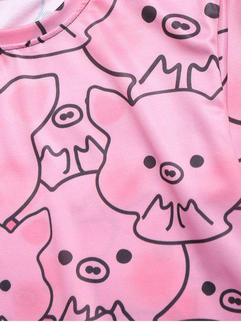 Camiseta casual con estampado gráfico de Piggy Allover - Rosado L Mobile