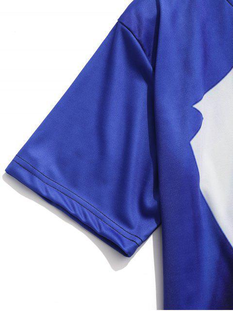 women's Faux Blazer Print Casual Short Sleeves T-shirt - COBALT BLUE 2XL Mobile