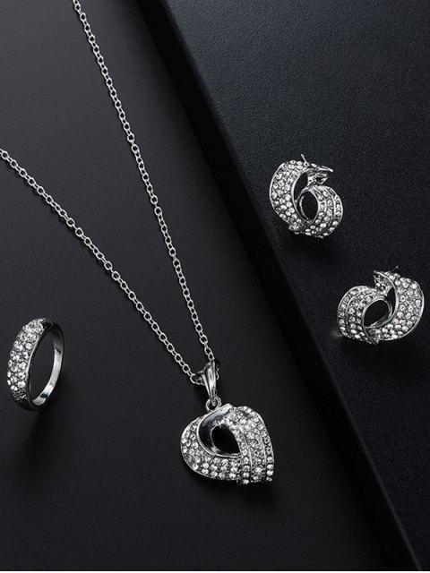 women's 3 Pcs Geometry Rhinestone Jewelry Set - SILVER  Mobile