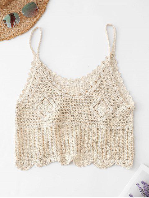 best Scalloped Crochet Tank Top - BEIGE ONE SIZE Mobile