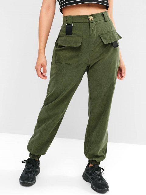 sale Belt Embellished Pocket Jogger Pants - ARMY GREEN M Mobile