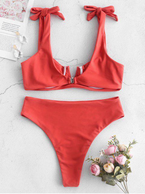 hot ZAFUL Smocked Self Tie High Leg Bikini Set - ORANGE PINK L Mobile