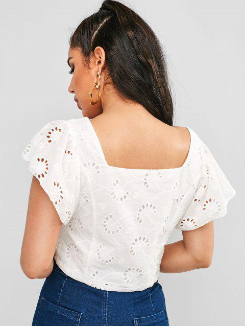 trendy Button Up Eyelet Crop Blouse - WHITE L Mobile
