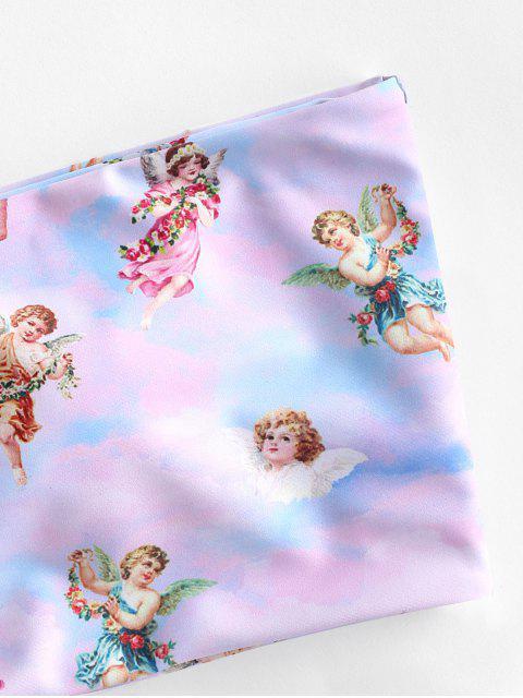 ZAFUL Принт ангела На шнуровке Бандо Бикини в сборе - Многоцветный-A S Mobile