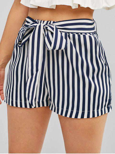 shop Striped High Waisted Belted Shorts - CADETBLUE S Mobile