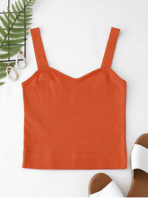 hot Plain Knitted Cropped Tank Top - PAPAYA ORANGE ONE SIZE Mobile