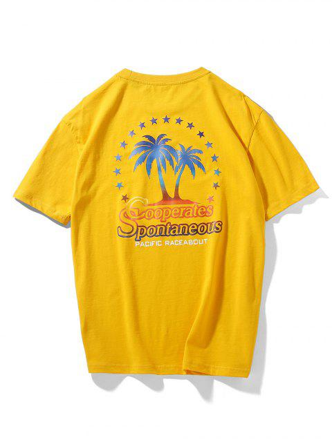 Camiseta con hombros descubiertos con letras de palmeras de coco - Marrón Dorado M Mobile