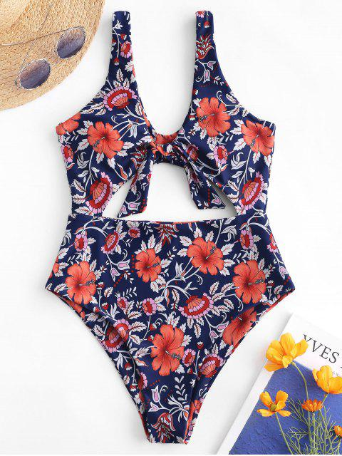 online ZAFUL Cut Out Tied Floral Swimsuit - MULTI-A L Mobile