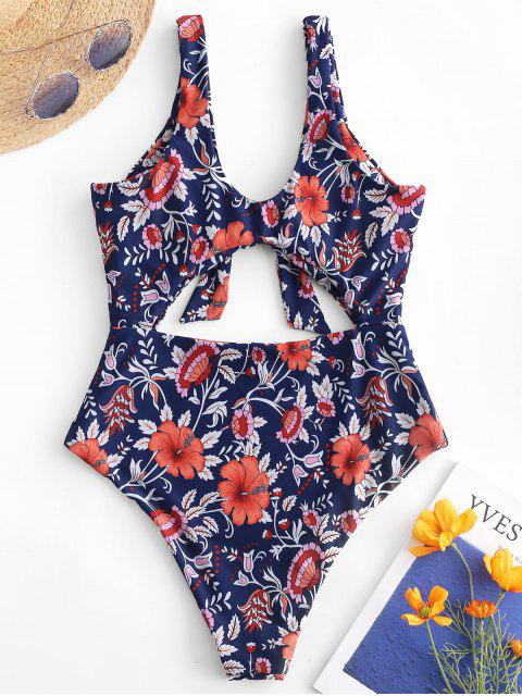 new ZAFUL Cut Out Tied Floral Swimsuit - MULTI-A XL Mobile