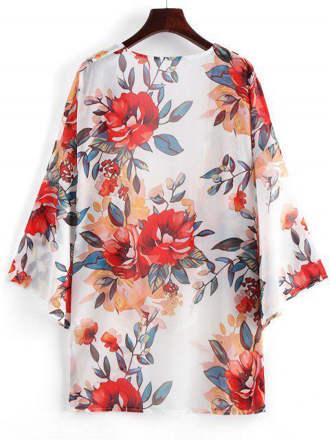 ladies Sheer Floral Kimono - WHITE L Mobile
