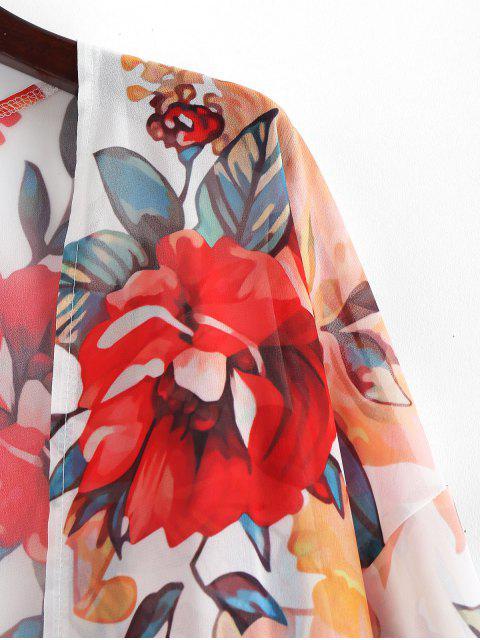 Прозрачное Цветочное Кимоно - Белый M Mobile