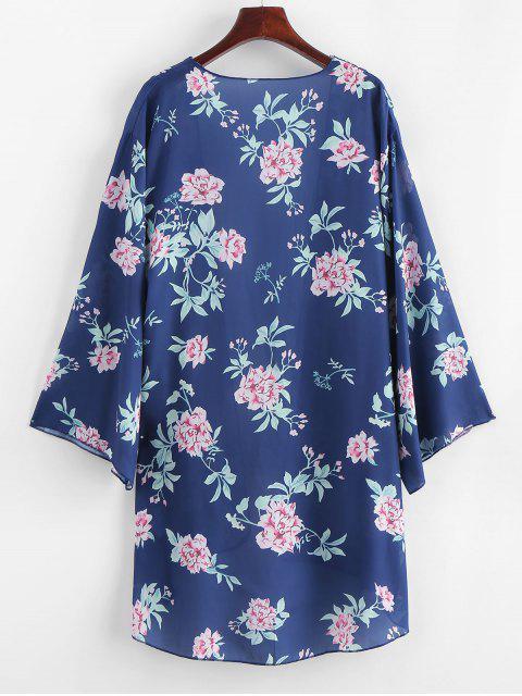 Kimono Plante Imprimée - Bleu Lapis L Mobile