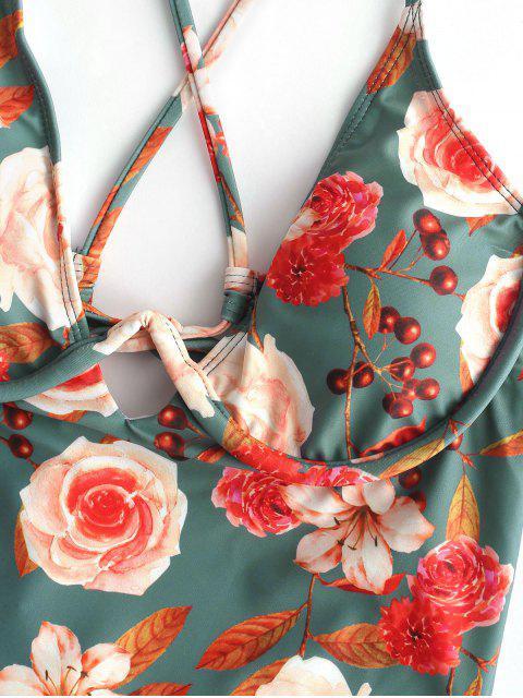 hot ZAFUL Floral Criss Cross High Leg Swimsuit - MULTI-A S Mobile