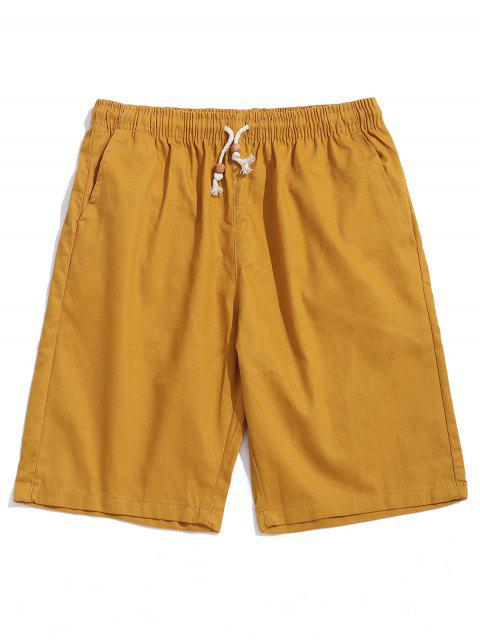 sale Solid Color Drawstring Casual Shorts - BEE YELLOW XS Mobile