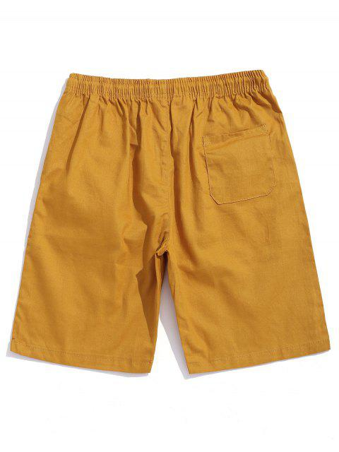 affordable Solid Color Drawstring Casual Shorts - BEE YELLOW S Mobile