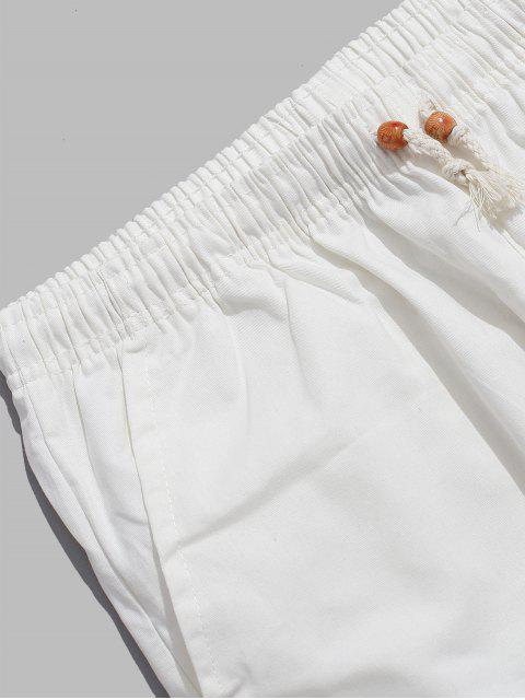 best Solid Color Drawstring Casual Shorts - WHITE M Mobile