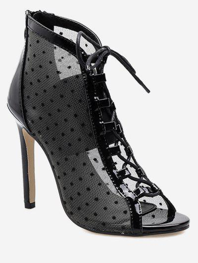 b33a467343c00 Mesh Lace Up Peep Toe Boot - Black Eu 37 ...