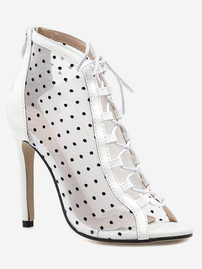 0c2ec9359cce9 Mesh Lace Up Peep Toe Boot - White Eu 37