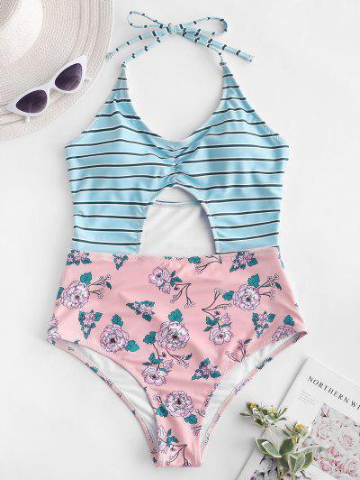 831633cbf7 ZAFUL Striped Floral Halter Backless Swimsuit - Multi-a L