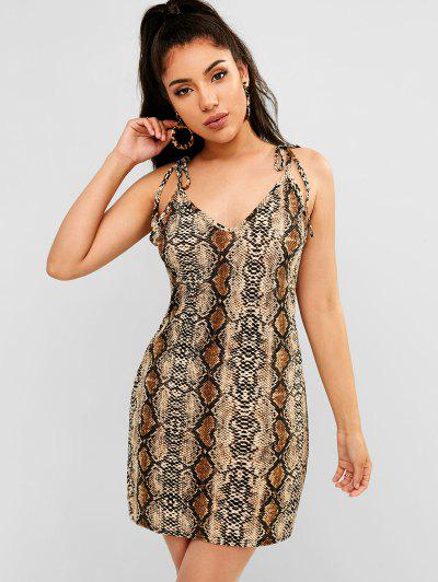 0f4053a8644 Tied Straps Snake Print Cami Dress - Multi L