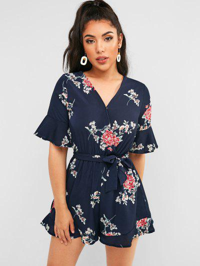 a889e0a7e9f Belted V Neck Floral Romper - Midnight Blue - Midnight Blue M