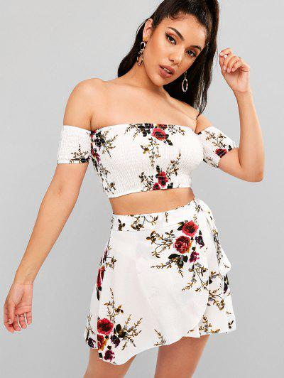 852a0ac3be2e Floral Smocked Off Shoulder Wrap Skirt Set - White M ...