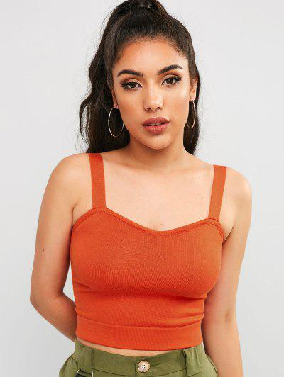 zaful Plain Knitted Cropped Tank Top