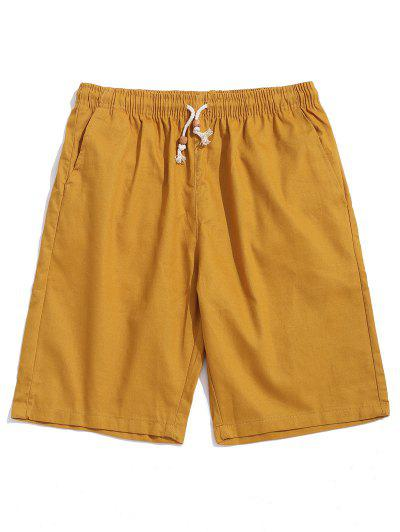 Solid Color Drawstring Casual Shorts - Bee Yellow Xs