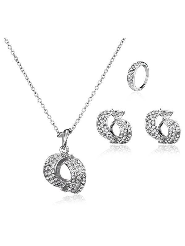 3 Pcs Geometry Rhinestone Jewelry Set