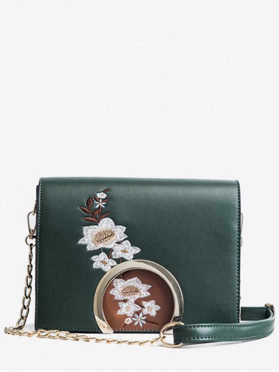 buy Spring Embroidered Flower Pattern Hasp Shoulder Bag - DARK GREEN