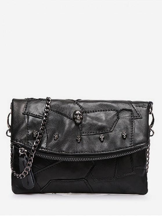 fashion Mini Patch Pattern Jointed Leather Shoulder Bag - BLACK