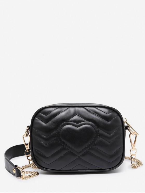affordable Heart Pattern Chain Shoulder Bag - BLACK