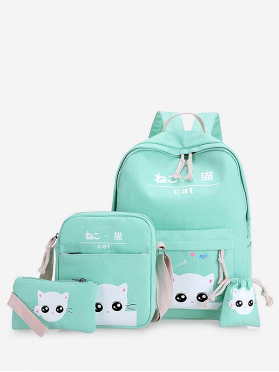 women's 4Pcs Canvas Cat Print Backpack Set - LIGHT AQUAMARINE