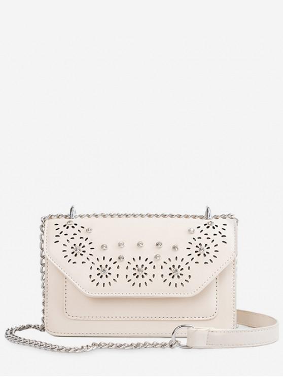 buy Rhinestone Design Square Crossbody Bag - WHITE